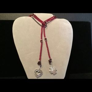 Silpada Lariat Necklace Sterling & Garnet #N1294